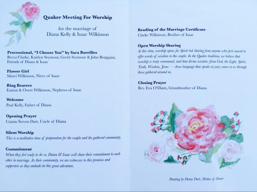 Quaker Wedding Ceremony Program